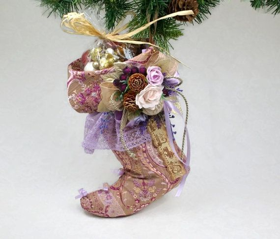 Personalized Stockings Christmas Victorian Stocking Holiday Decorations Old Pink Purple Christmas Handmade Stocking Natural Christmas    This