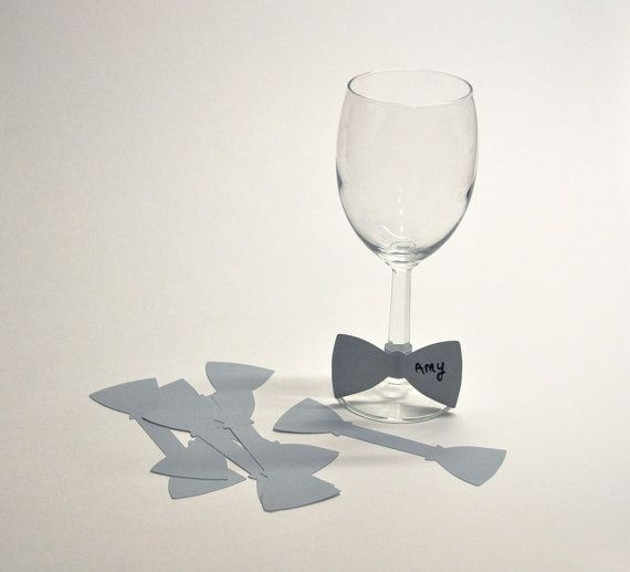 Bow Tie Paper Wine Glass Markers, Disposable Place Cards (set of 15)