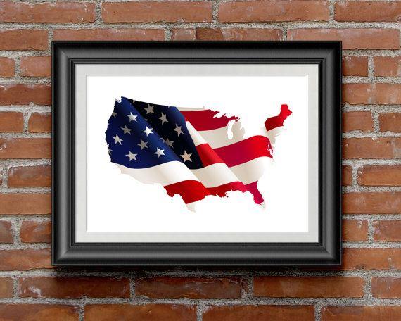 Карта Соединенных Штатов, Карта США, плакат США, карта США для печати, карта США, печать стены искусства декора, флаг США, флаг сша