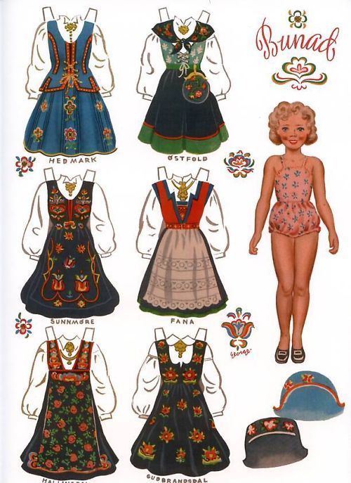 Norwegian paper doll | Norwegian Paper Dolls with Norway Bunads Traditional Folk Costumes