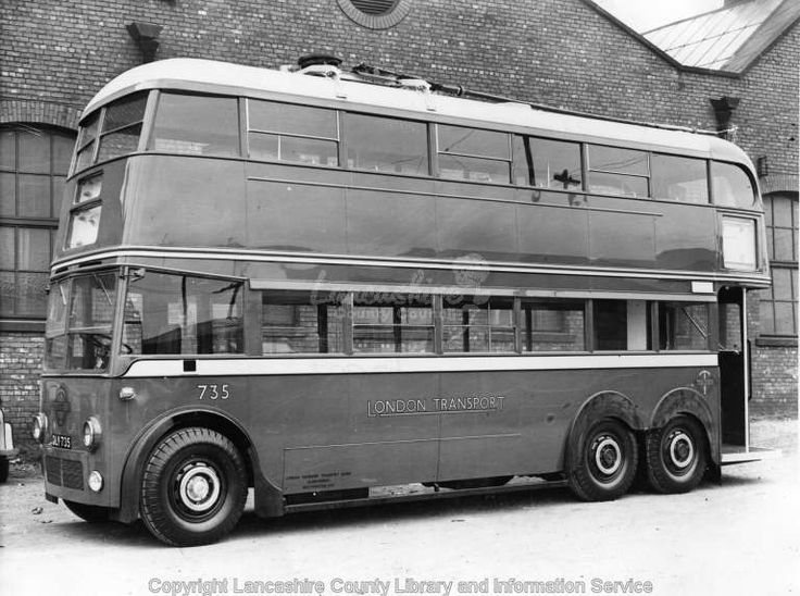 London Trolley Bus at the Leyland factory shortly before delivery to London Transport. Both the body and chassis were made by Leyland. No 735 was one of London Transport's 100-strong F1 class of trolleybuses provided by Leyland in 1937. The F1s served London Transport very well, proving to be sturdy and reliable vehicles despite operating on some of their busiest trolleybus routes. 735 served with LT until April 1959 and went for scrap the following month.