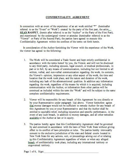 Sean Raspet *, 2008- The first page of a confidentiality agreement - confidentiality agreement form