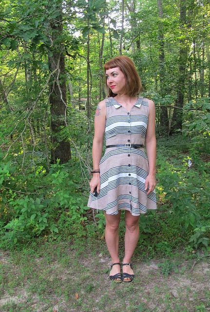 Completed: Striped Linen Hawthorn Dress