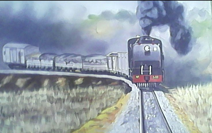 Diesel Train - Oil painting on canvas