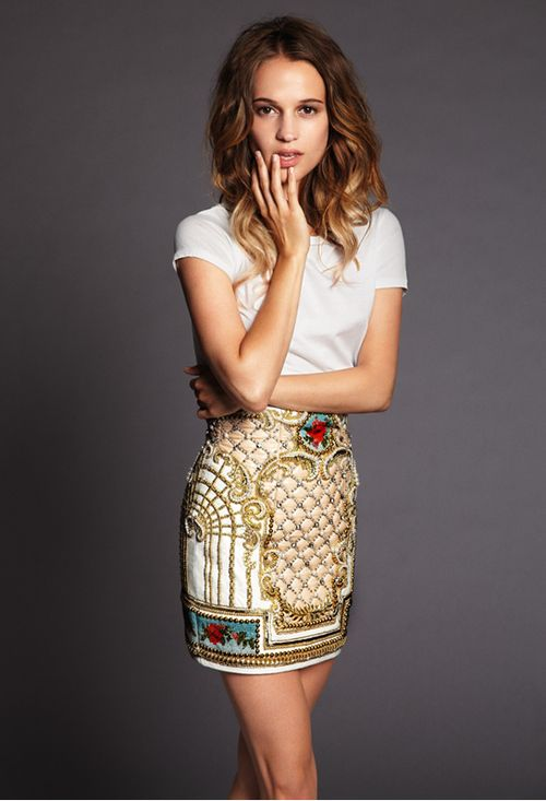 Plain tee, not-so-plain skirt.