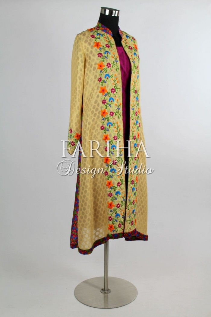 KHADI NET EMBROIDERED COAT WITH PURE SILK SCREEN PRINT