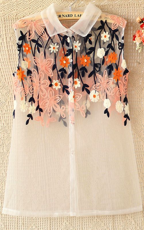 Sheer top with cute embroidery