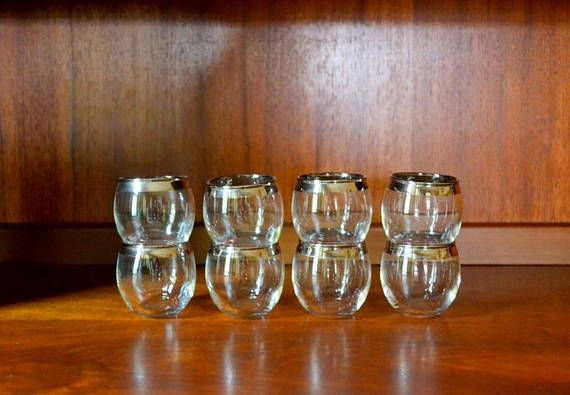 vintage silver rim roly poly shot glasses / midcentury modern