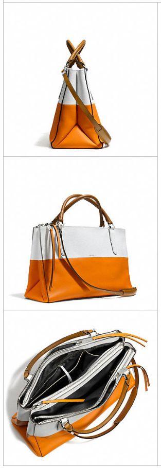 New Coach handbags: Borough tote in orange + white. Want!