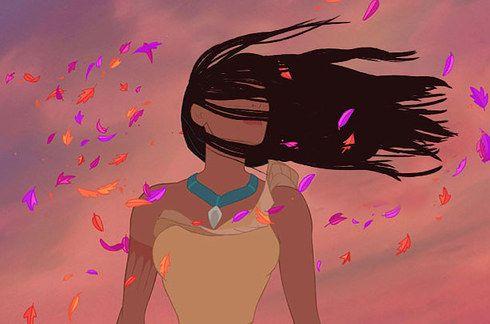 Und Pocahontas' Haare in einer echten Windböe.   Wenn Disney-Prinzessinen Haare wie im echten Leben hätten