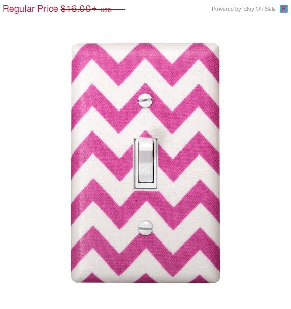 HOLIDAY SALE Chevron Light Switch Plate Cover / Nursery Decor / Kids Boys Girls Room / Nautical Fuchsia Hot Pink and White / By Slightly Sm on Etsy, $14.00