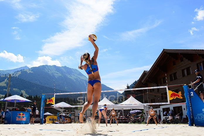 Fivb Gstaad Six American Teams Alive In Playoff Rounds American Beaches Beach Volleyball Volleyball
