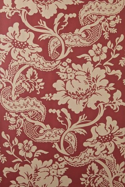 Versailles (BP 2610) - Farrow & Ball Wallpapers - A grand damask style pattern with intricate floral vines laced with unusual leaf motifs, beautifully hand printed using Farrow & Ball's finest paints in beige on a red background - more colours are available. Please request a sample for true colour match.