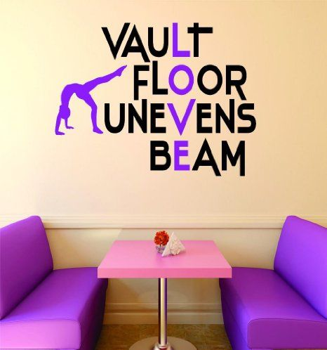 Design With Vinyl RAD V 389 1 Vault Floor Uneven Beam Gymnastics Sign Teen  Girl Bedroom Decoration Picture Art Home Decor Decal, X