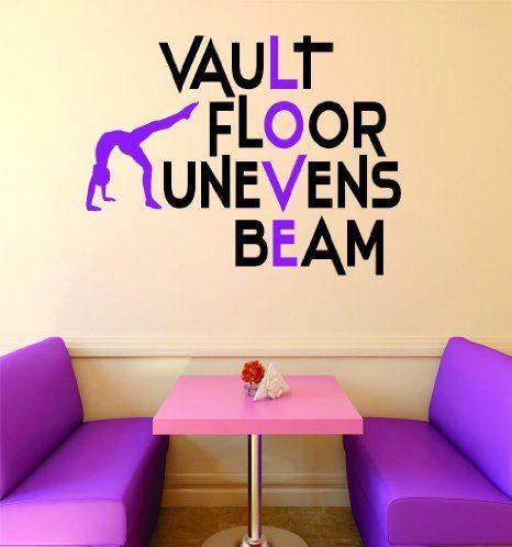 """Design with Vinyl RAD V 389 1 Vault Floor Uneven Beam Gymnastics Sign Teen Girl Bedroom Decoration Picture Art Home Decor Decal, 16"""" x 24"""""""
