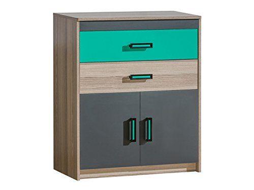 Kommode Timo mit zwei Türen und zwei Schubladen Esche Dunkel/Grün sideboard highboard kommode günstig schlafzimmer kommode