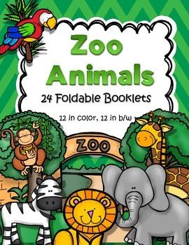24 foldable informational booklets for early learners - 12 are in full color, 12 are in in b/w. Zoo animals included are: zebra, elephant, panda, crocodile, lion, hippopotamus, monkey, Polar bear, flamingo, giraffe, penguin, koala.