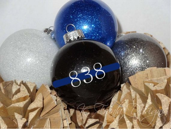thin blue line ornament law enforcement police officer sheriff deputy trooper leo leow personalized badge number gift christmas ornament - Police Officer Christmas Decorations