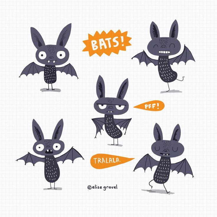 Elise Gravel illustration • bats • cute • animal • drawing • art • bat • Disgusting critters • chauve-souris •