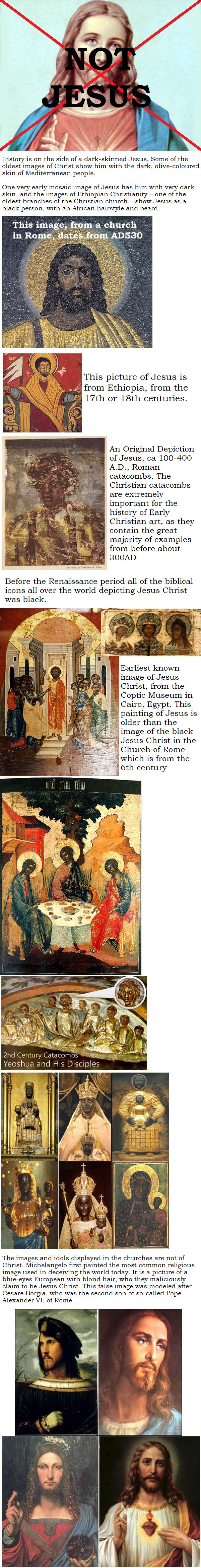 History is on the side of a dark-skinned Jesus. Some of the oldest images of Christ show him with the dark, olive-coloured skin of Mediterranean people. One very early mosaic image of Jesus has him with very dark skin, and the images of Ethiopian Christianity – one of the oldest branches of the Christian church – show Jesus as a black person, with an African hairstyle and beard. http://www.rejesus.co.uk/site/module/faces_of_jesus/P2/