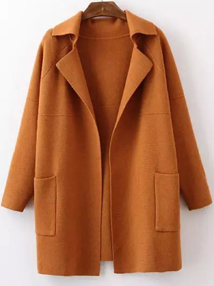 Khaki Lapel Long Sleeve Pockets Sweater Coat -SheIn(abaday)