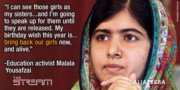 """I call on Boko Haram to stop misusing the name of Allah.  Islam is a religion of peace."" - Malala #BringBackOurGirls"