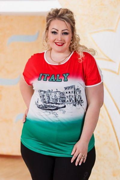 Трехцветная миненная футболка ,большого размера