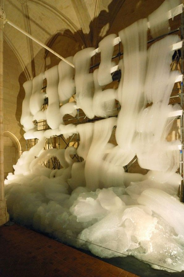 Michel Blazy's Bouquet Final, Filling an enormous 13th Century monastery in Paris, Michel has installed giant foam-producing machines, bubbling huge quantities of unpredictable wet cloud into the classic architecture of the building.