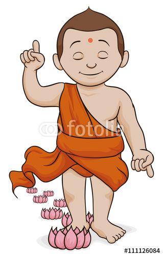 Buddha Walking and Leaving Lotus at his Steps