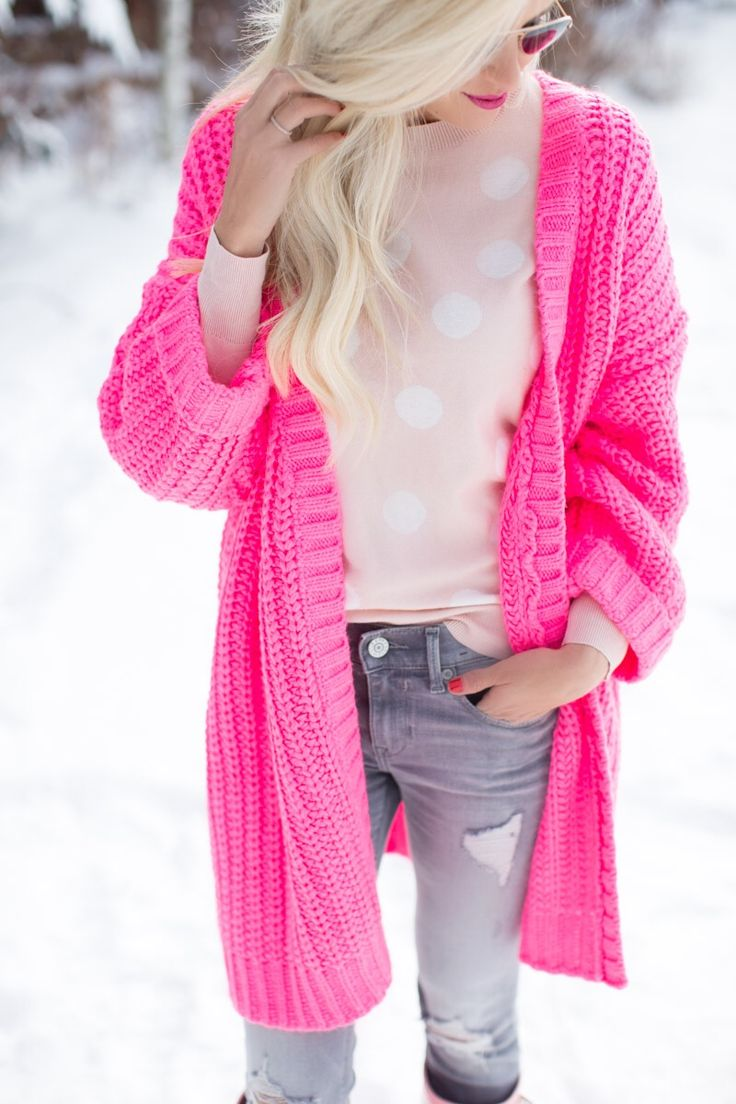 The most perfect hot pink cardigan ever made! Details on McKennaBleu.com