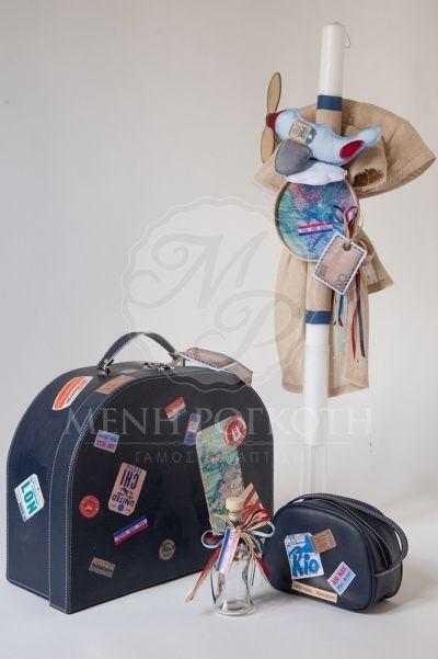 Σετ βάπτισης για αγόρι vintage βαλίτσα μπλε και λαμπάδα με θέμα αεροπλάνο