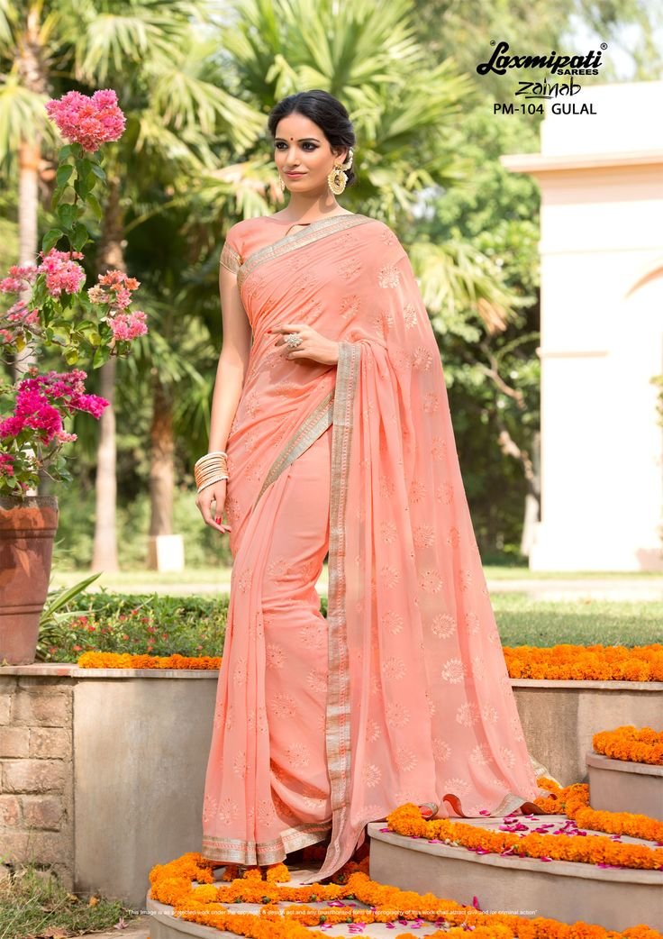 Buy this amazing peach colored #georgette #embroidery stone work #saree with peach colored georgette blouse along with rawsilk lace Border online at http://www.laxmipati.com #Price - ₹ 3042.00 #Catalogue- #Zainab #DesignNumber- #Zainab 104 #Bridal #ReadyToWear #Wedding #Apparel #Art #Autumn #Black #Border #MakeInIndia #CasualSarees #Clothing #Couture #Designersarees #Dress #Ecommerce ##Zainab0317 #LaxmipatiSaree #LaxmipatiSarees #Laxmipati #Festival #Oekotex