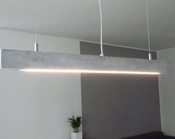 XL Leuchte Holz Beton beschichtet Lampe 180 cm | Concrete