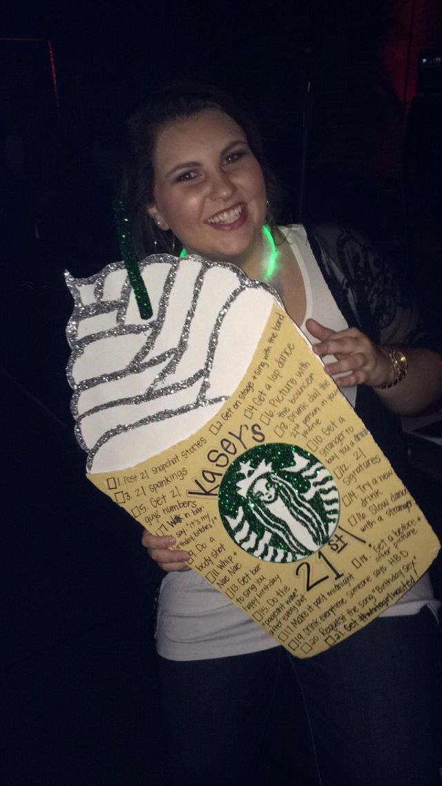 Starbucks obsession leads to cutest 21st birthday sign ever designed by: @carolineec16