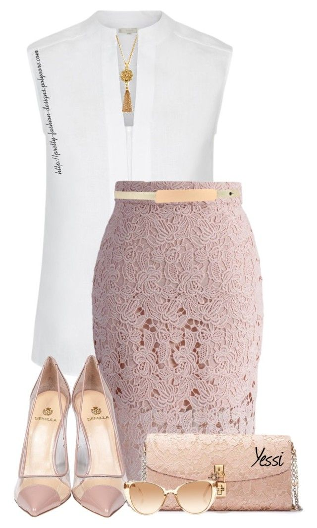"""~  Blush  ~"" by pretty-fashion-designs ❤ liked on Polyvore featuring Hobbs, Chicwish, Semilla, Dolce&Gabbana, Jose & Maria Barrera and Linda Farrow"