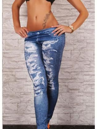 Low Waist Washed Denim Leggings with Scratch in Vintage Style