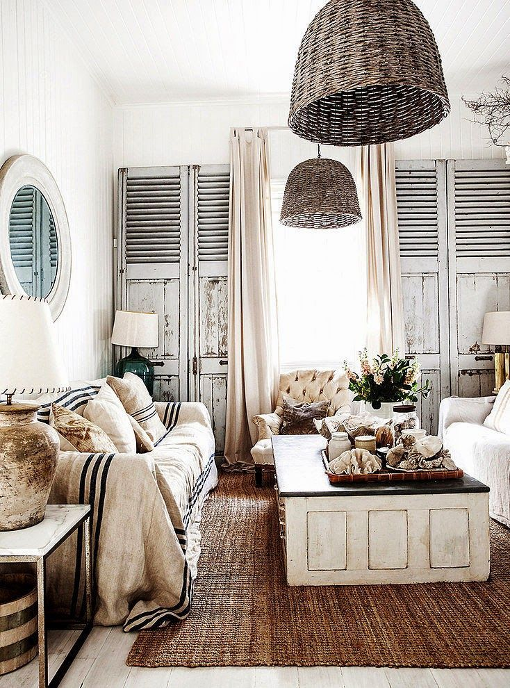 HOME & GARDEN white washed shabby chic interior design with an old French feel.