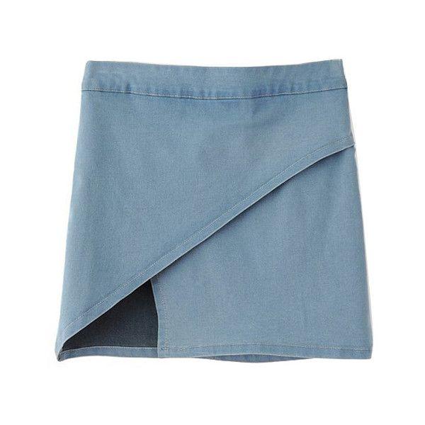 Chicnova Fashion Irregular Hem Denim Pencil Skirt (790 UAH) ❤ liked on Polyvore featuring skirts, bottoms, clothes - skirts, denim, blue denim skirt, textured skirt, blue pencil skirt, knee length denim skirt and pencil skirts