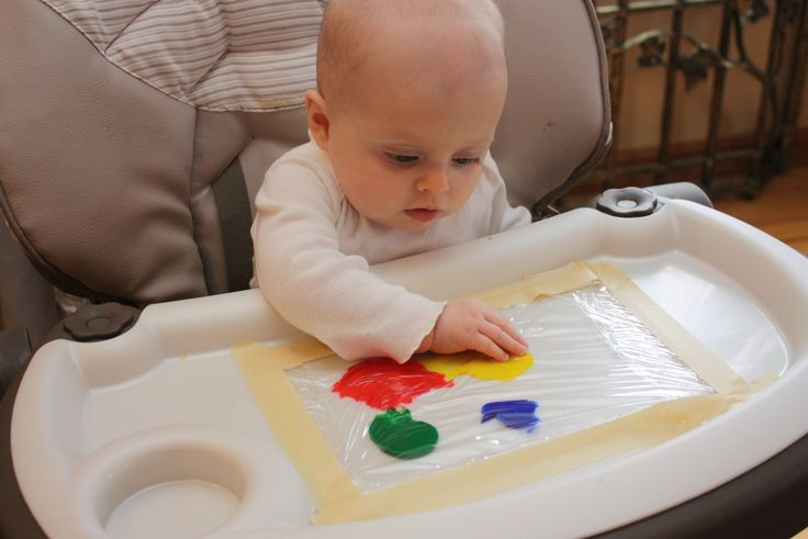 Baby Finger Painting-got to remember this for when the big girls are painting