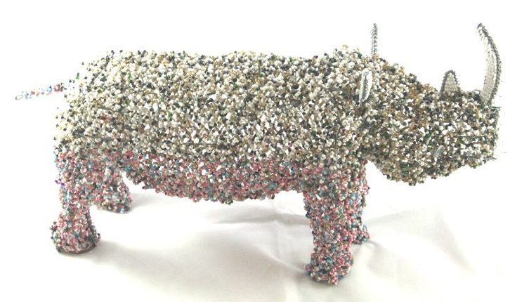 Another rhino masterpiece crafted from wire and beads