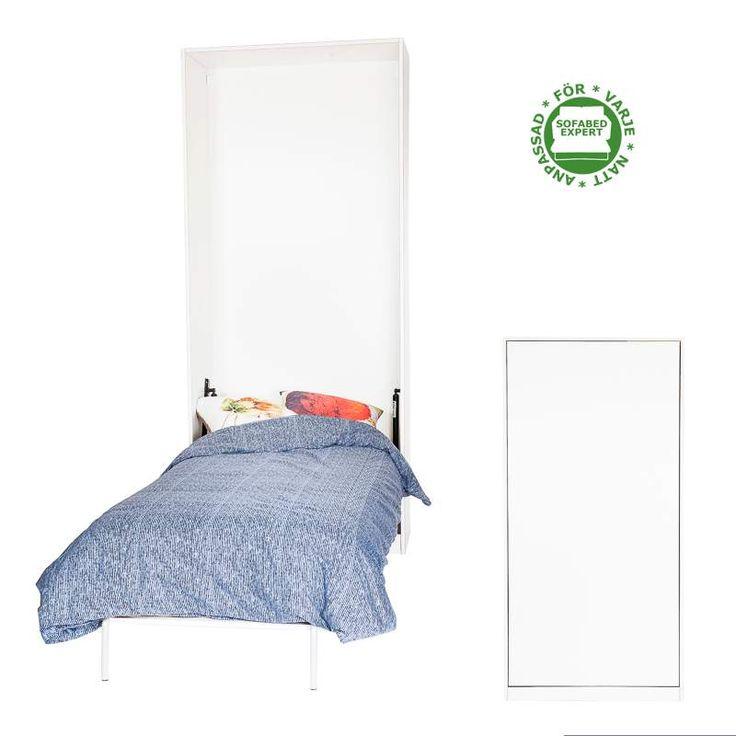 Stående sängskåp anpassat för en traditionell resårsäng.  Wallbed suitable for a regular frame bed.