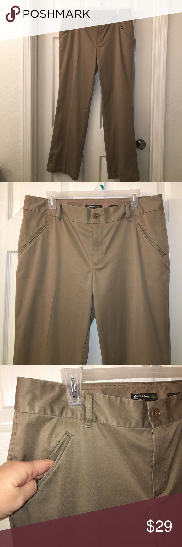 "Ladies EDDIE BAUER Khaki Trouser Pants sz 14 This is a pair of Ladies EDDIE BAUER Khaki Trouser Pants in a sz 14! Waist measures 36"" and inseam measures 30""❤good used condition! Happy poshing friends! Eddie Bauer Pants Trousers"
