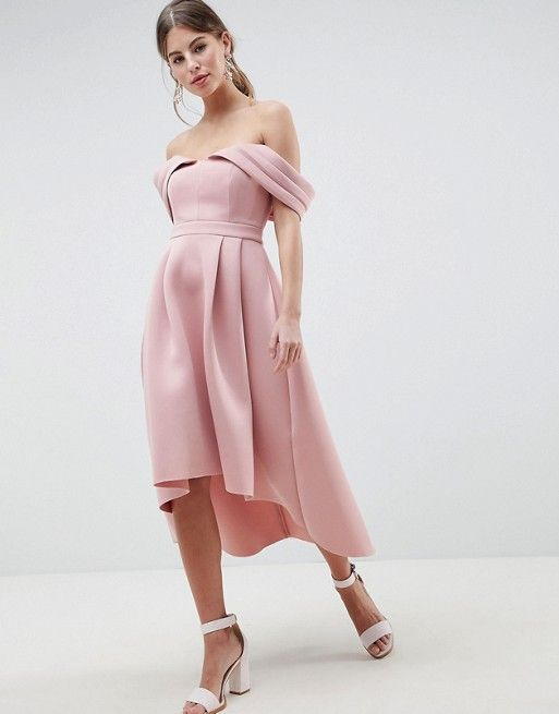 f2b211d5feb8 Bardot Cold Shoulder Dip Back Midi Prom Dress