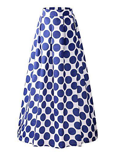 KIRA Women's Elastic High Waist A-line Flared Maxi Skirt ...