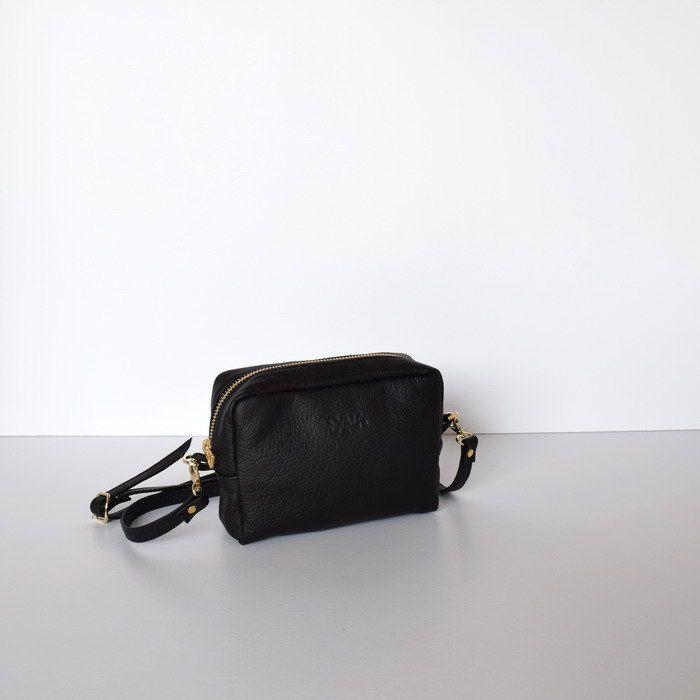 Zip Mini Crossbody Leather Bag, Black Mini Handbag, Small Leather Messenger Bag, Black Leather Evening Clutch, Women's purses, Evening purse by Alfastudio on Etsy