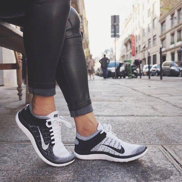 Shoes: nike running shoes, nike shoes, nike free run, pants, black