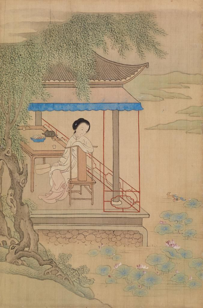 In The Style Of Qiu Ying Seated Girl On Porch Late 19th Century