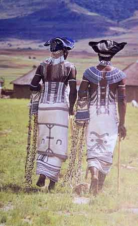 Africa |  Two Xhosa men dressed for a tribal dance.  South Africa