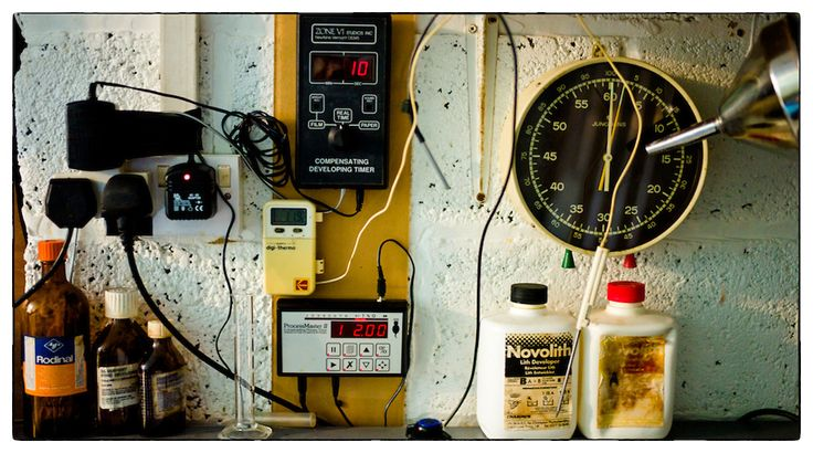 My darkroom in West Yorkshire, England. An eclectic combination of old analogue chemistry, early digital compensating timers by Zone VII (of...
