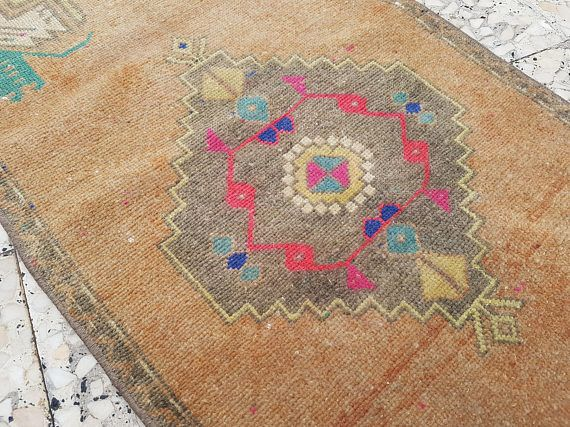 Vintage Turkish Table & Wool Decor Muted Rug Handmade